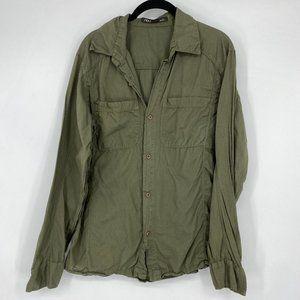 NAU Organic Cotton Green Long Sleeve Button Down